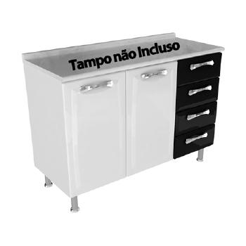 BALCÃO PREMIUM 2 PORTAS 4 GAVETAS SEM TAMPO
