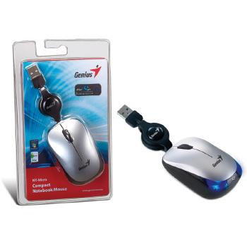 MOUSE GENIUS 31010126101 NX-MICRO PRATA USB COM CABO RETRATIL