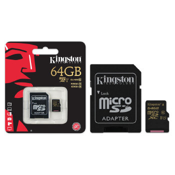 CARTAO DE MEMORIA CLASSE 10 KINGSTON SDCA10/64GB MICRO SDXC 64GB COM ADAPTADOR SD UHS-I